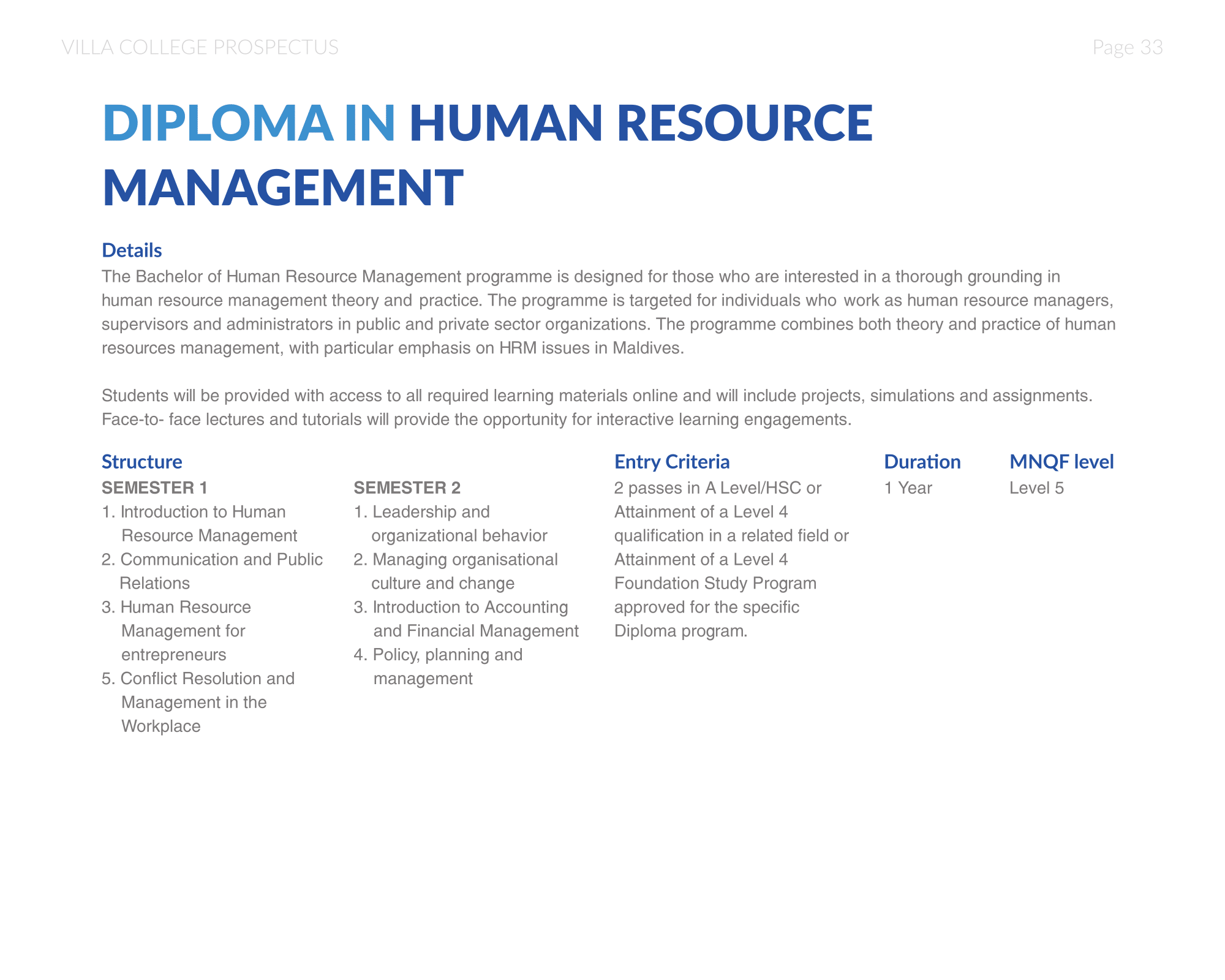 Villa College Diploma In Human Resource Management